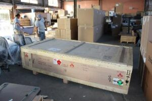 a crate containing StormMeister Flood Doors for export,